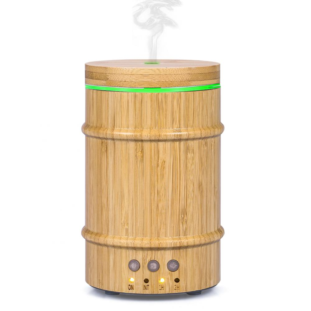 Real Bamboo Essential Oil Diffuser 150ml Ultrasonic Aromatherapy Humidifier with 7 Colorful LED,Humidifier