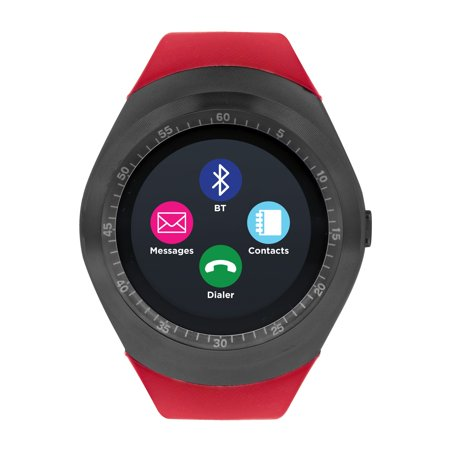 Itouch Silicone (iTouch Curve Smartwatch Gunmetal Case with Red Strap)