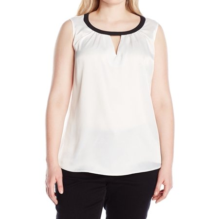 Kasper NEW White Women's Size 1X Plus Charmeuse Keyhole Tank Cami Top