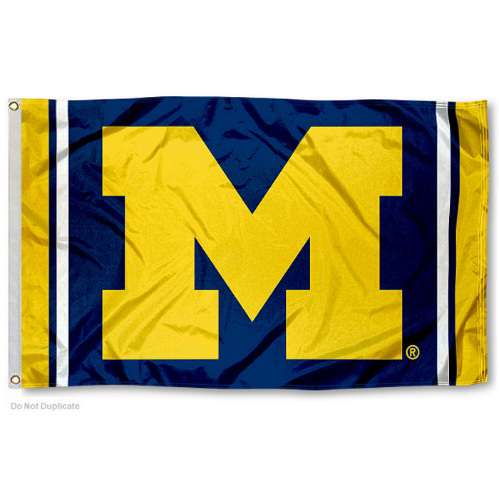 University of Michigan Wolverines Jersey Stripes Flag