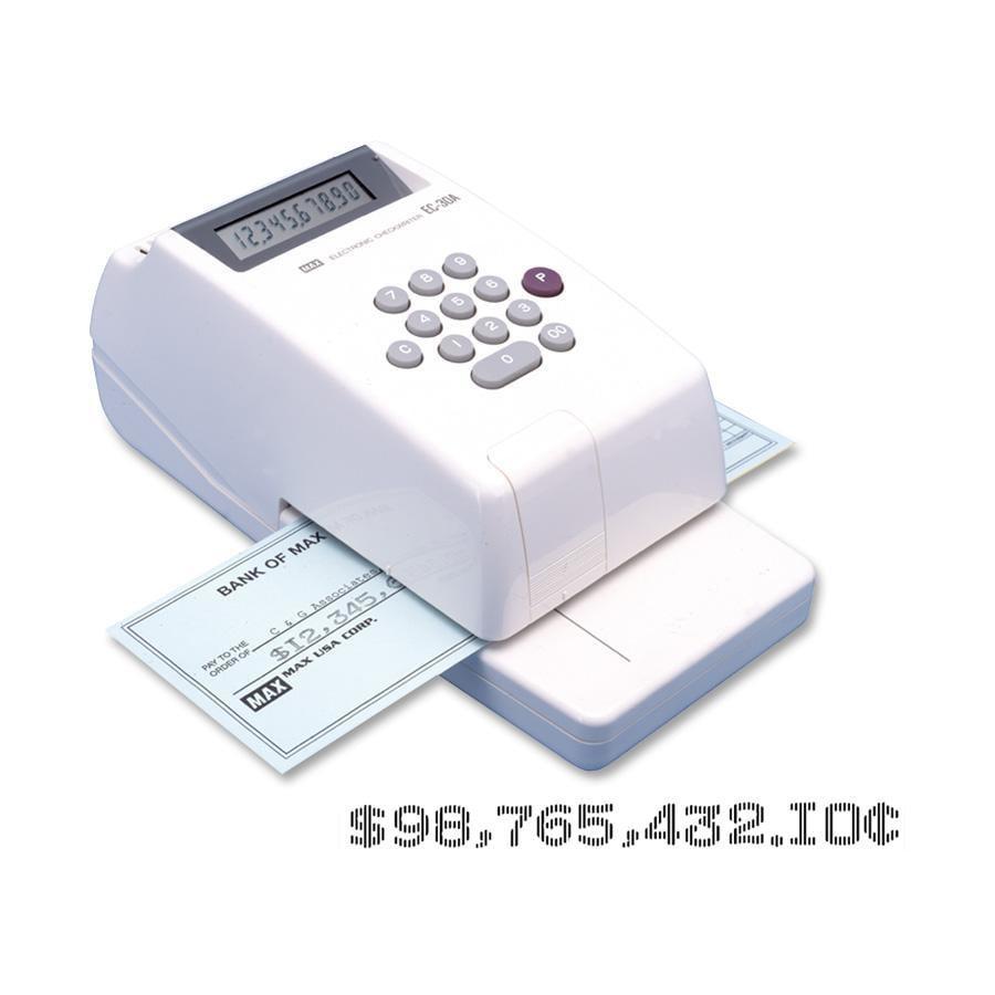 MAX, MXBEC30A, 10-digit Print Electronic Check Writer, 1 / Each, White,Gray
