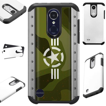 For LG Rebel 4 | LG Rebel 3 Case Hybrid TPU Fusion Phone Cover (US Army Star) (Us Reel)