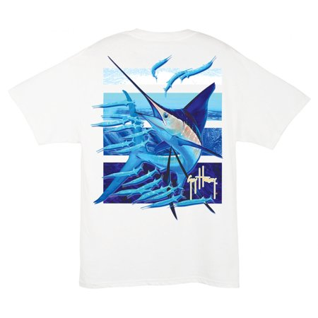 Guy Harvey Bull Dolphin - GUY HARVEY Mens Ballyhoo S/S T, Color: White (MTH1741-WHT)