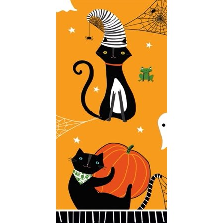 Halloween Paper Facial Tissues Scaredy Cat Orange Hankies 10pk