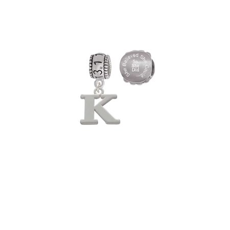 Silvertone Large Initial - K - 13.1 Half Marathon Run She Believed She Could Charm Beads (Set of (Soy Beads Melter)