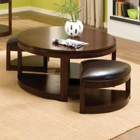 Standard furniture ocala round coffee table with two for Round cocktail table with stools