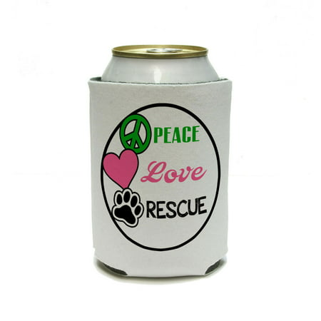 Peace Love Rescue - Adopt Animal Shelter Pet Dogs Cats Paw Print Can Cooler Drink Insulator Beverage Insulated (Pet Cooler)