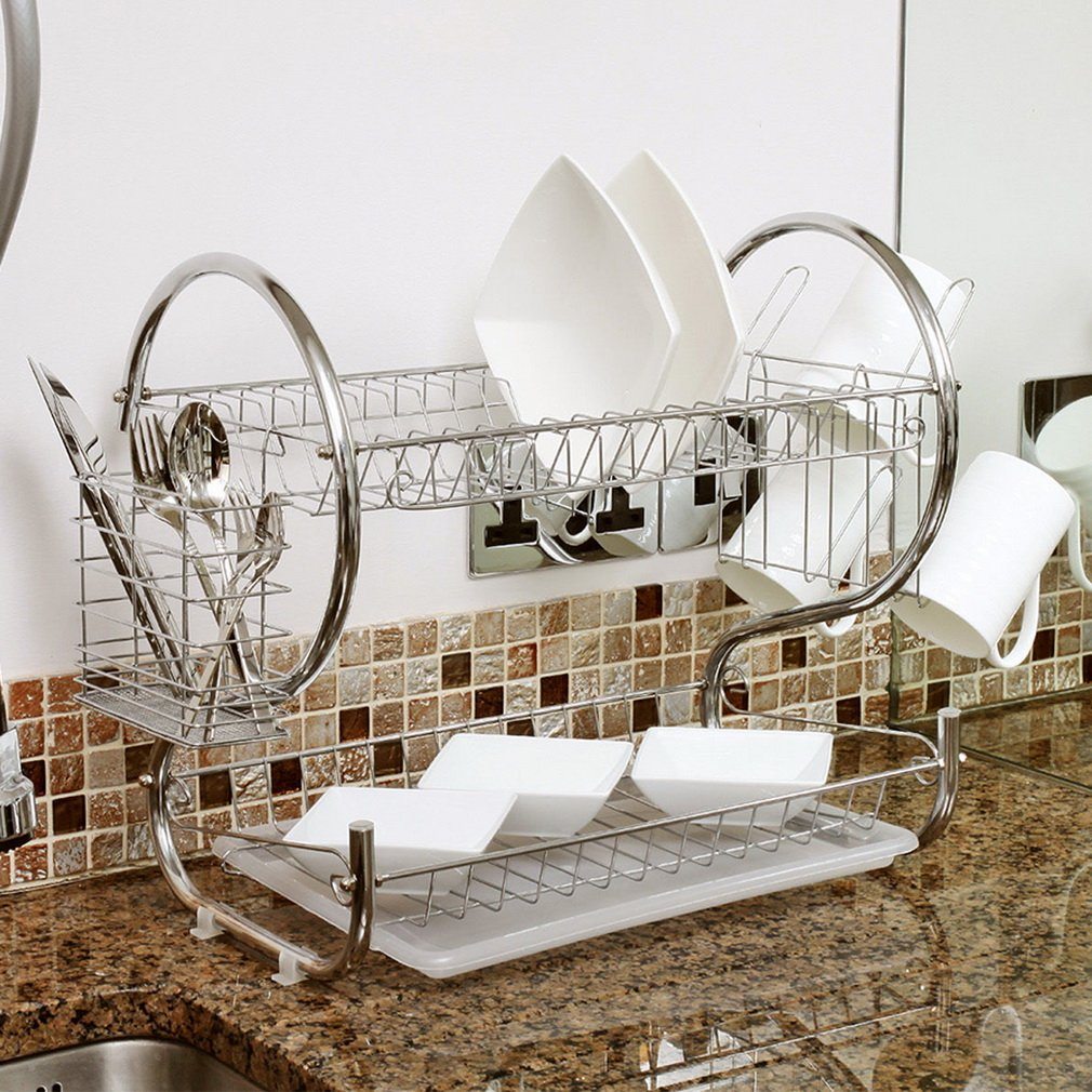 2 Tier Chrome Plate Cup Dish Drain Rack Dish Rack for Kitchen