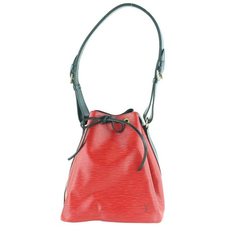 Louis Vuitton Bicolor Epi Black Red Petit Noe Drawstring Bucket Hobo 1LZ1129