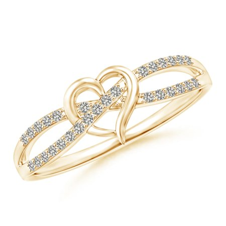 Round Diamond Criss Cross Heart Promise Ring in 14K Yellow Gold (Weight: 0.15ctwt)