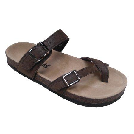 Outwoods Bork 30 Brown Nubuck Birk Style Toe Loop Slide On Sandal