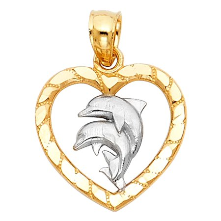 14K Two Tone Gold Heart with Dolphin Pendant