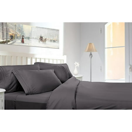 Clara Clark 1800 Series Deep Pocket 4pc Bed Sheet Set Cal King Size, Charcoal Gray