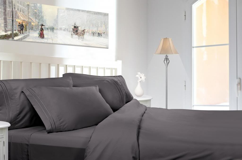 Great Clara Clark 1800 Series Deep Pocket 5pc Bed Sheet Set Split King Size,  Charcoal Gray