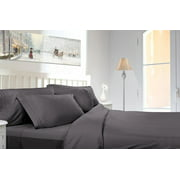 Clara Clark 1800 Series Deep Pocket 5pc Bed Sheet Set Split King Size, Charcoal Gray