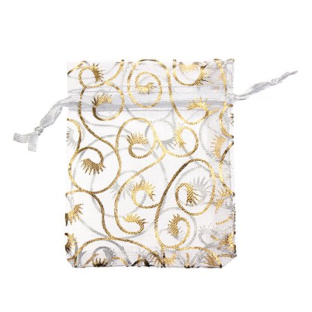 Meigar 100pcs Sheer Organza Favor Bags for Wedding Baby Shower Rattan Print Gift Bags Samples Display Drawstring Pouches 2.75''*3.5'' - Baby Shower Bags