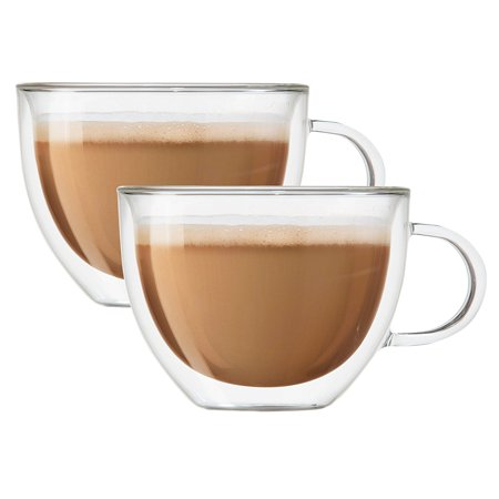 Double Wall Glass Tea & Coffee Espresso Cup Glasses, Set of 2 - 230ml / 8oz (2) ()