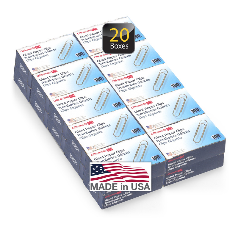 Officemate Giant Paper Clips, Pack of 20 Boxes of 100 Clips Each, 2,000 Clips Total (99934)