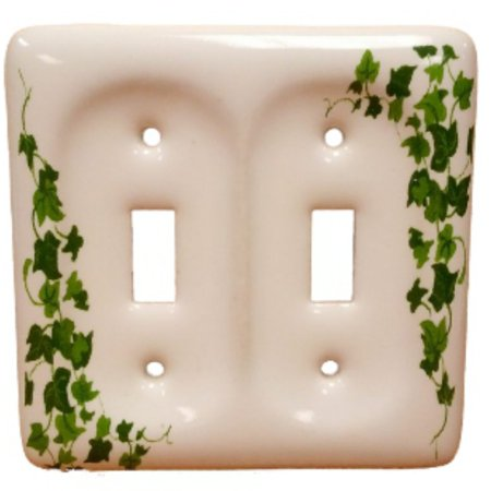 Leviton Green Vine Pattern 2-Gang Ceramic Switch Cover Toggle Wallplate 89509-GRN