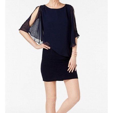 Womens Capelet Cold Shoulder Sheath Dress