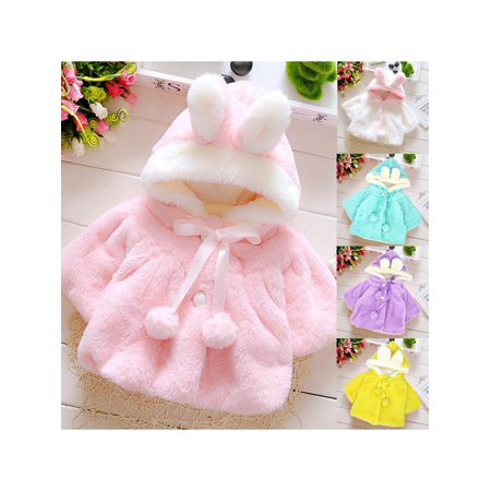 (Girl12Queen Baby Girls Infant Rabbit Ear Hoodie Warm Coat Pom Pom Bowknot Winter Clothes)