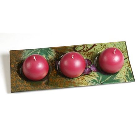 Europa Ball Candle Holder Tuscany Wine Country Grapes Hand Painted Art (Europa Collection Wine)