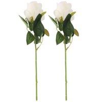 Room Fabric Artificial Rose Flower Vase Holder Desktop Decor Off White 2pcs