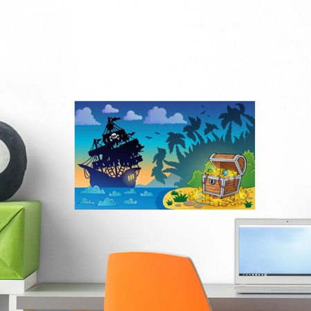 Pirate Theme with Treasure Wall Mural by Wallmonkeys Peel and Stick Graphic (18 in W x 11 in H) WM178953