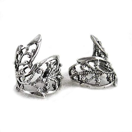 Sterling Silver Filigree Ornate Leaf Ear Cuff, One Piece ()