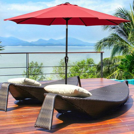 Ktaxon 9 Foot Waterproof Folding Garden Patio Umbrella Sunshade Red