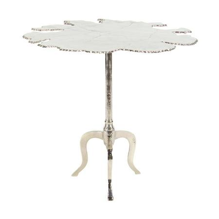 Decmode Modern Aluminum Irregular-Shaped Silver Side Table, -