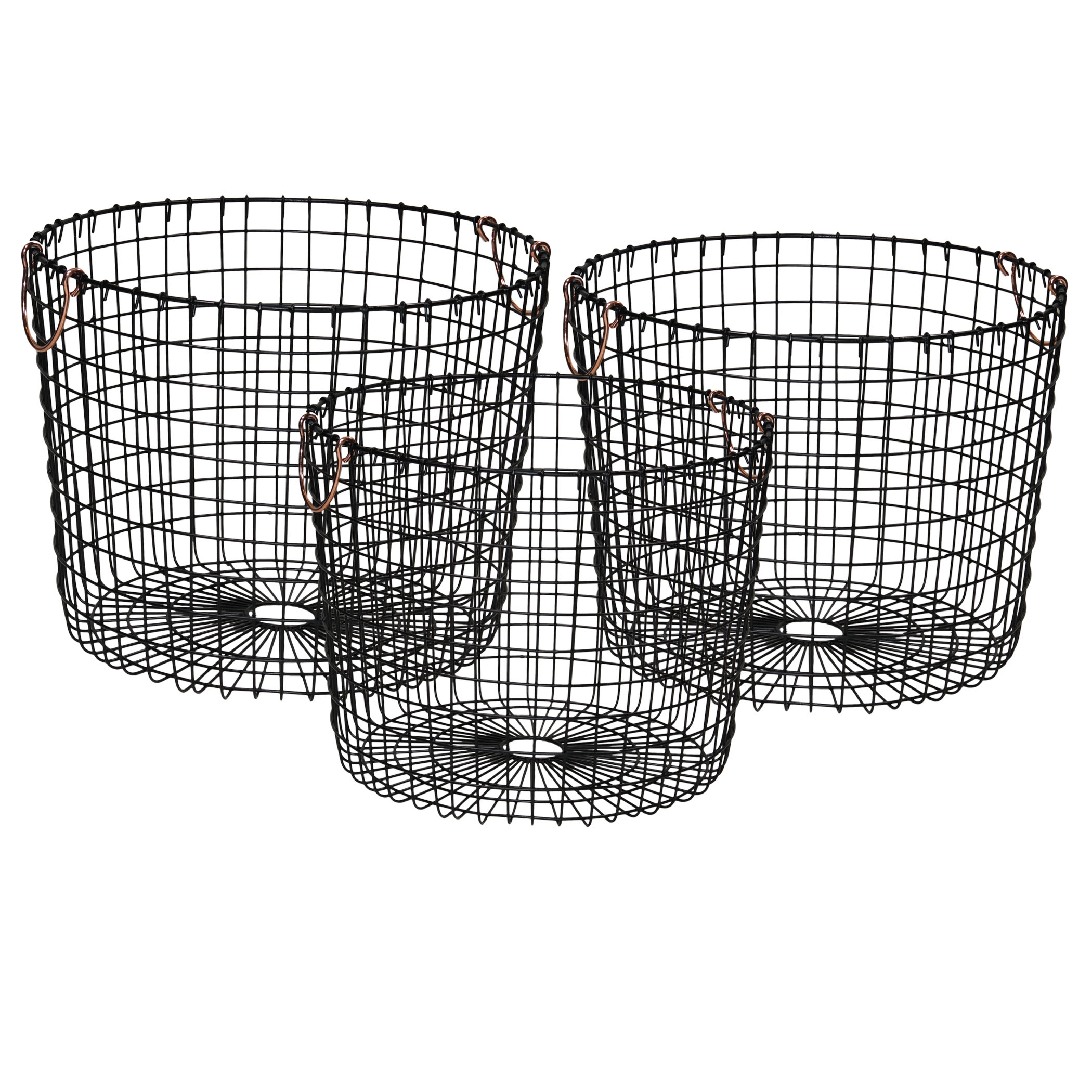 Mainstays Round Open Weave Metal Wire Baskets with Handles