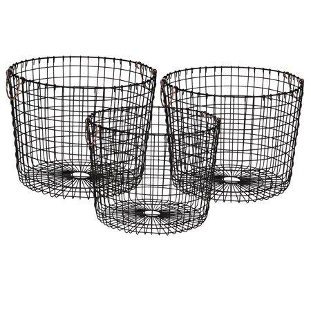 Mainstays Round Open Weave Metal Wire Baskets with Handles, Set of 3, - Black Metal Basket