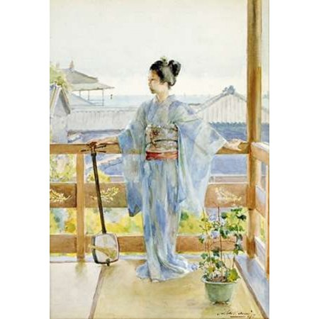 Geisha Standing On a Balcony Rolled Canvas Art - Anton Alois Stern (10 x 14)