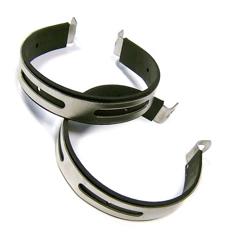 2X EXHAUST MUFFLER CLAMP BRACKET W RUBBER 125-150cc GY6 SCOOTER PEACE SUNL VIP BMS VENTO ZNEN
