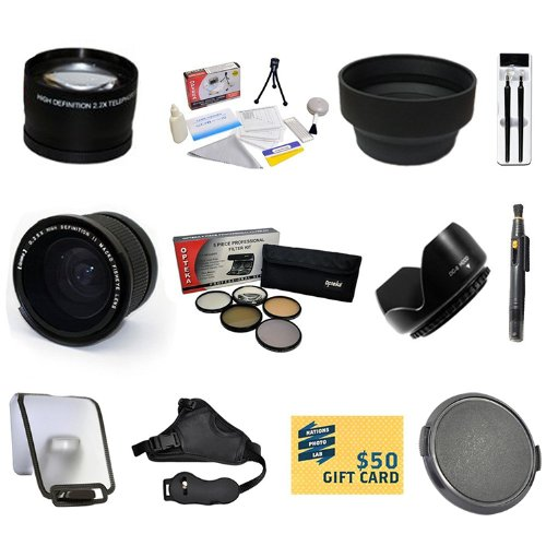 Beginners Lens Kit for Canon EOS REBEL T5i T4i T3i T3 SL1 with 0.35 + 2.2x Lens + Pro 5 Piece Filter Kit + Sensor Cleaning Kit + Lens Cleaning Pen + Stabilizing Hand Grip Strap + $50 Gift Card! & More