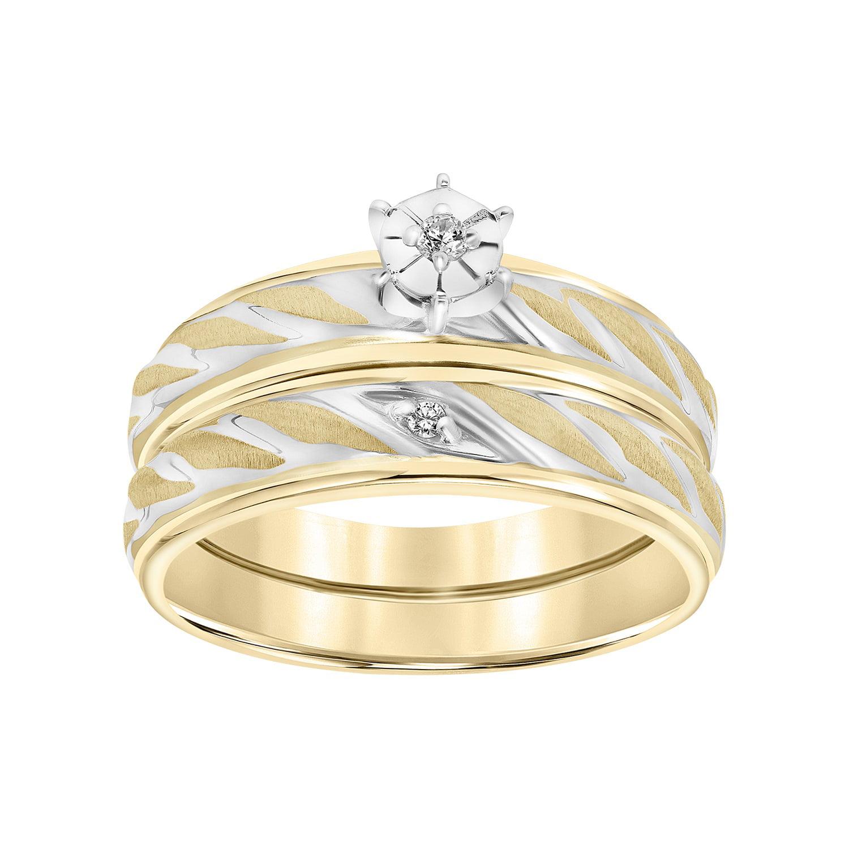 Diamond Accent Rope Design 10kt Yellow Gold Bridal Set by Frederick Goldman Inc.
