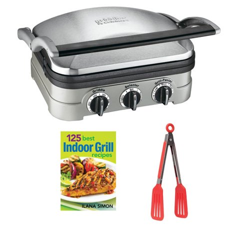 Cuisinart GR-4N Griddler Stainless Steel Grill/Griddle & Panini Press with Bundle