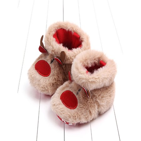 Baby Girls Boys Cartoon Fluffy Deer Warm Boot First Walkers Christmas Shoes - Fluffy Rave Boots