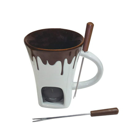 F12064 4-Piece Nostalgia Chocolate Fondue Mug Set, Set includes: Fondue Mug, Two Fondue Forks and Tea light Candle By