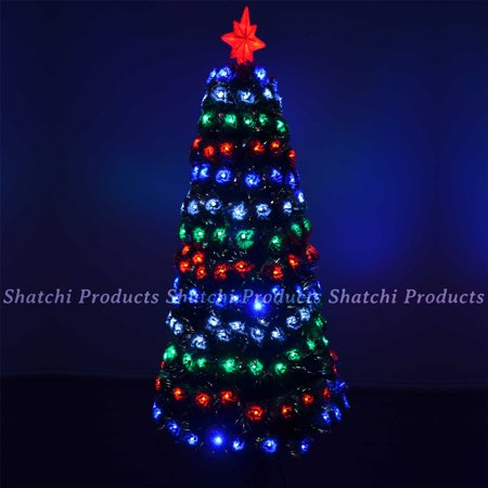 5ft 150cm LED Pre lit Fibre Optic Christmas Tree Snow Covered Tips Xmas Decor