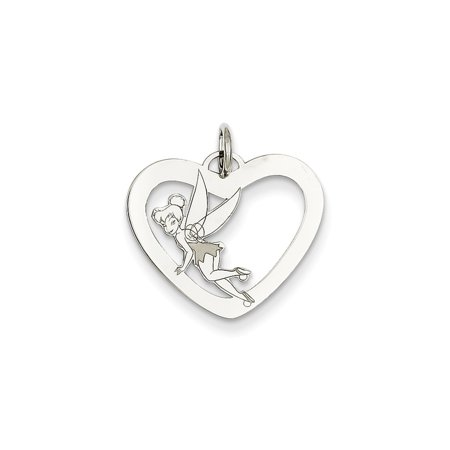 Tinkerbell Heart Charm - Solid 925 Sterling Silver Disney Tinker Bell Heart Pendant Charm (20mm x 20mm)