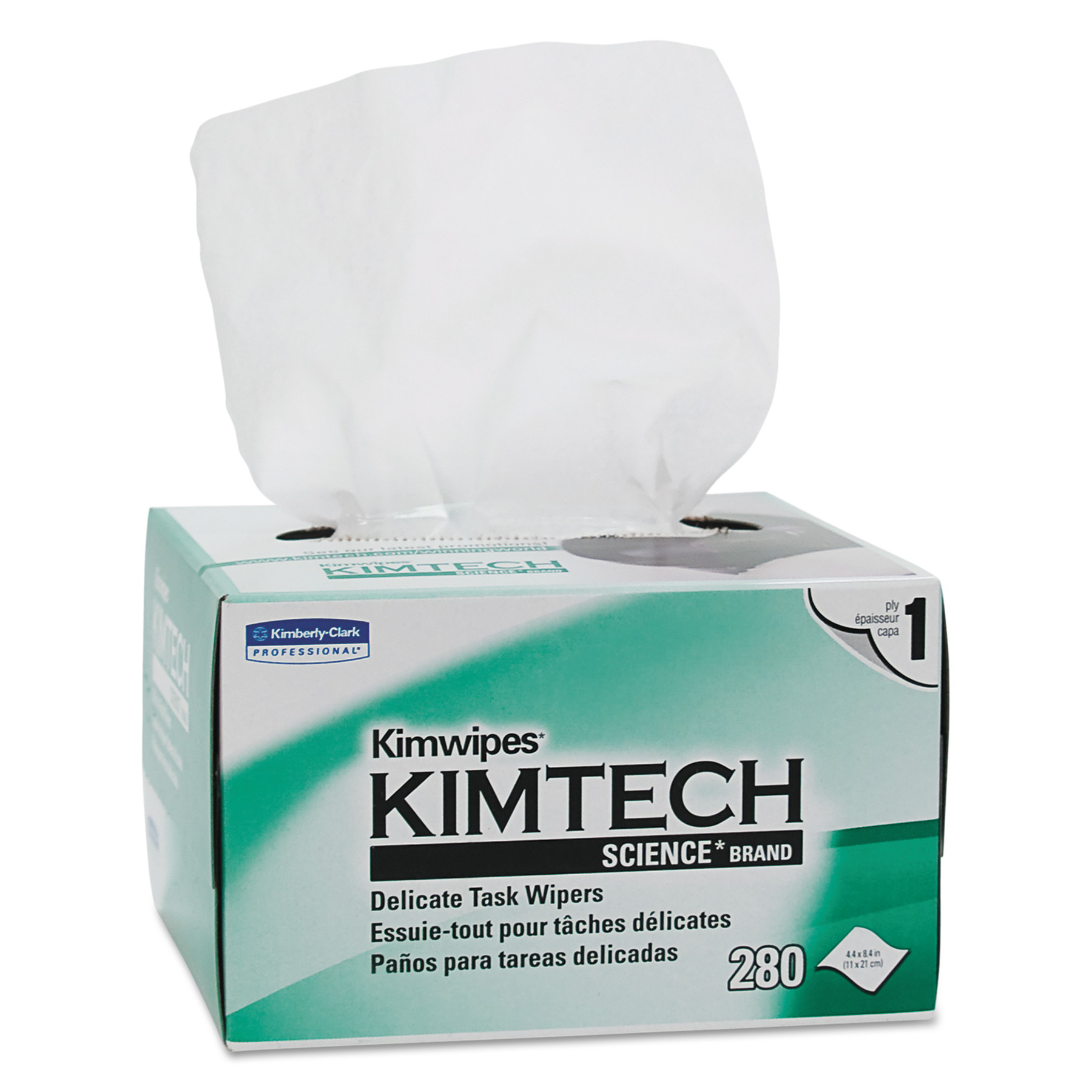 Kimtech* KIMWIPES, Delicate Task Wipers, 1-Ply, 4 2/5 x 8 2/5, 280/Box