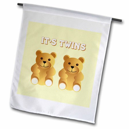 3dRose Its twins. Two brown teddy bears announce the new arrivals. - Garden Flag, 12 by 18-inch