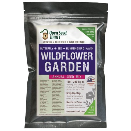 Wildflower Seeds Bulk Annual Seed Mix plus Full Growing Guide by Open Seed (Grow Wildflowers)