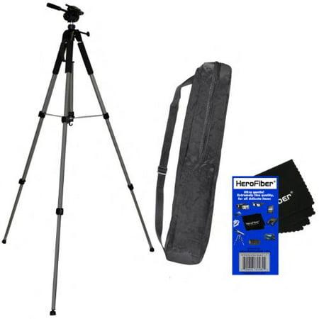"72"" Pro Elite Series Photo/video Tripod & Deluxe Soft Carrying Case for Pentax K-3, K-5, K-7, K-30, K-50, K-500, K1000, & K2000 Digital SLR Cameras w/ Herofiber Ultra Gentle Cleaning Cloth"