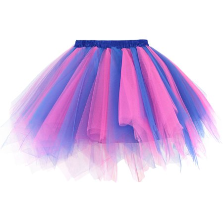 Women's Layered Tulle Petticoat Ballet Tutu Skirt,RoyalBlue/Rose (Pink Crinoline Petticoat)