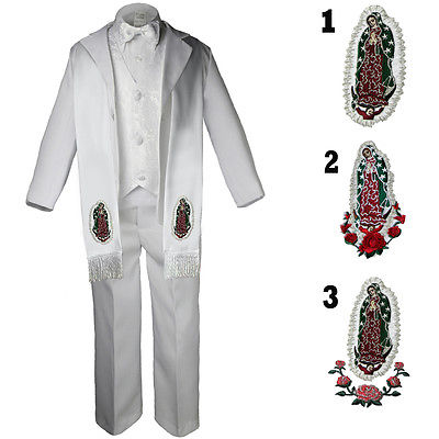 Baby Toddler Kid Boy Christening  Baptism White Formal Tuxedo W Stole Suit Sm-20