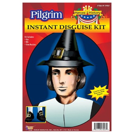 Adult Pilgrim Pioneer History Costume Accessory Kit Hat Shoe Buckles Neck collar - Halloween Costumes And History