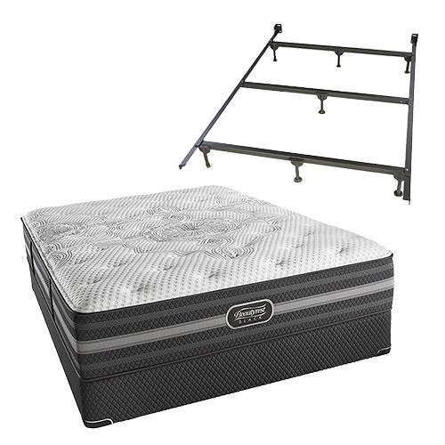 Desiree Queen Size Luxury Firm Mattress and Low Profile Box Spring Set With Frame Beautyrest Black Desiree